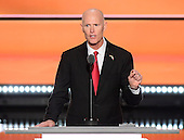 Governor Rick Scott (Republican of Florida) makes remarks at the 2016 Republican National Convention held at the Quicken Loans Arena in Cleveland, Ohio on Wednesday, July 20, 2016.<br /> Credit: Ron Sachs / CNP<br /> (RESTRICTION: NO New York or New Jersey Newspapers or newspapers within a 75 mile radius of New York City)