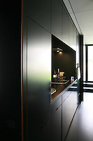 A space saving galley kitchen is fitted into a wall of built-in black-painted cupboards which run the length of the living area