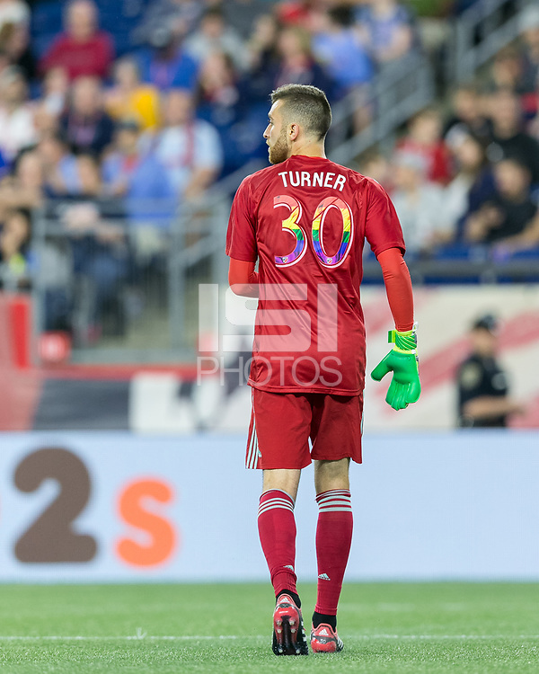 Foxborough, Massachusetts - June 2, 2018: In a Major League Soccer (MLS) match, New England Revolution (blue/white) defeated New York Red Bulls (white), 2-1, at Gillette Stadium.<br /> Matt Turner with pride number jersey.