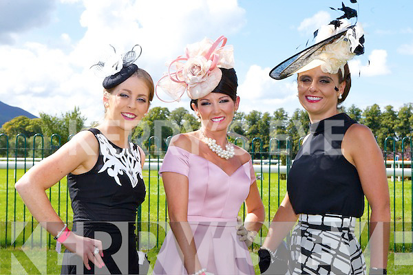 Dawn Quaid, Mary Woulfe both Athea and Tasha O'Connor Templeglantine enjoying the sunshine at Killarney Races Ladies day on Saturday