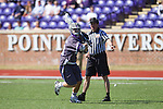 Brendan Montrello (20) of the High Point Panthers carries the ball up the field against the UMBC Retrievers at Vert Track, Soccer & Lacrosse Stadium on March 15, 2014 in High Point, North Carolina.  The Panthers defeated the Retrievers 17-15.   (Brian Westerholt/Sports On Film)