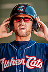 18 July 2018: New Hampshire Fisher Cats infielder Gunnar Heidt dons his batting helmet in the dugout during a game against the Trenton Thunder at Northeast Delta Dental Stadium in Manchester, NH. The Thunder defeated the Fisher Cats 3-2 concluding a previous game started April 29. Mandatory Credit: Ed Wolfstein Photo *** RAW (NEF) Image File Available ***