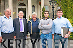 MEETING: Angry creditors of Aspenhill Construction Ltd following a creditors meeting in Killarney last week. Standing l-r: John McGillycuddy, John Wiley of (Wiley and Sons Tarmacadam), Tim O'Sullivan a (Listry garage owner) and William Browne and Adrian Cronin of (Fix Set Ireland).