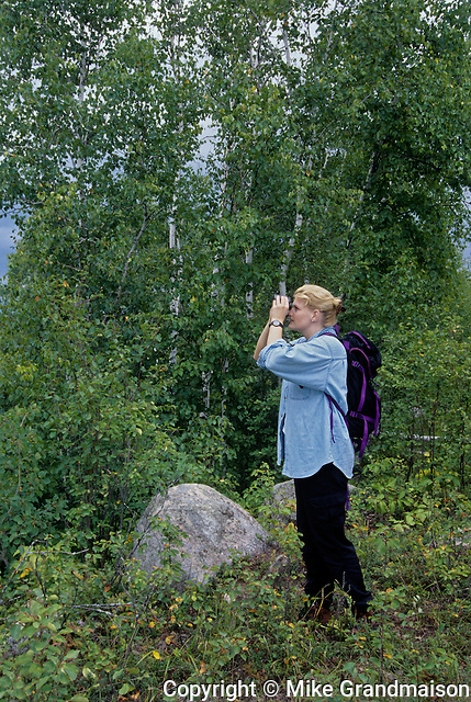 Bird watching at edge of forest<br /> Belair Provincial Forest<br /> Manitoba<br /> Canada