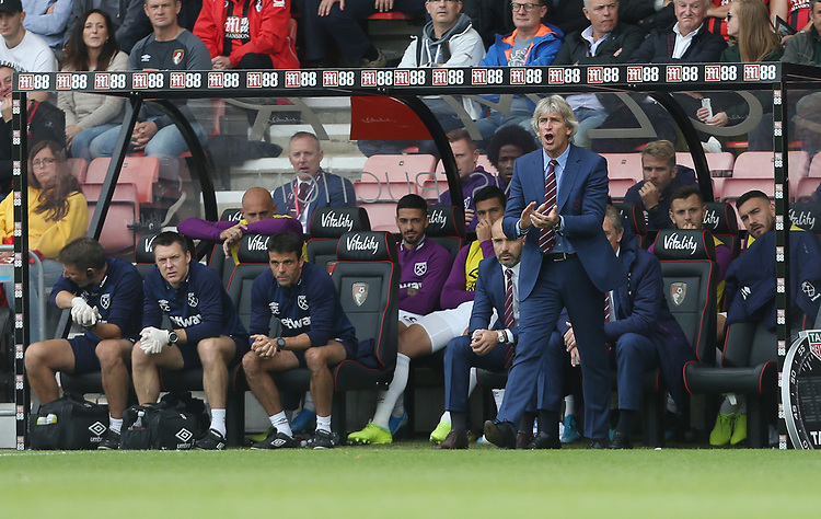 West Ham United manager Manuel Pellegrini <br /> <br /> Photographer Rob Newell/CameraSport<br /> <br /> The Premier League - Bournemouth v West Ham United - Saturday 28th September 2019 - Vitality Stadium - Bournemouth<br /> <br /> World Copyright © 2019 CameraSport. All rights reserved. 43 Linden Ave. Countesthorpe. Leicester. England. LE8 5PG - Tel: +44 (0) 116 277 4147 - admin@camerasport.com - www.camerasport.com