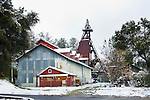 Argonaut Mine and headframe with snow in the Mother Lode of Amador County, Calif.