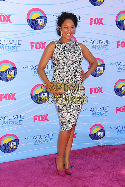 Tamera Mowry-Housley.FOX's 2012 Teen Choice Awards held at The Gibson Ampitheatre in Universal City, California, USA..July 22nd, 2012.full length leopard print sleeveless pregnant gold clutch bag grey gray  hand on hip pink shoes.CAP/ADM/BP.©Byron Purvis/AdMedia/Capital Pictures.