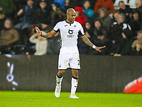 2nd January 2020; Liberty Stadium, Swansea, Glamorgan, Wales; English Football League Championship, Swansea City versus Charlton Athletic; Andrew Ayew of Swansea City tries to calm his teammates during the match - Strictly Editorial Use Only. No use with unauthorized audio, video, data, fixture lists, club/league logos or 'live' services. Online in-match use limited to 120 images, no video emulation. No use in betting, games or single club/league/player publications