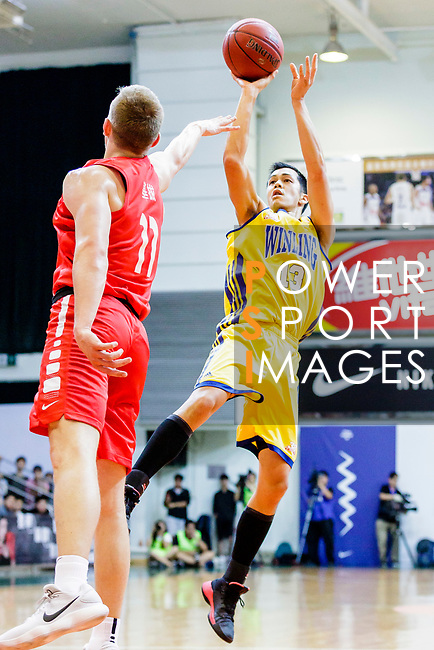 Joe Glen Matthew #13 of Winling Basketball Club tries to score against the SCAA during the Hong Kong Basketball League game between SCAA vs Winling at Southorn Stadium on June 19, 2018 in Hong Kong. Photo by Yu Chun Christopher Wong / Power Sport Images