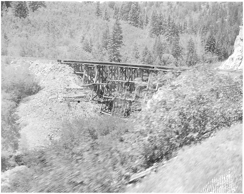 Trestle built in 1908 0 192 feet ling and 56 feet high built on a curve.<br /> RGS  Pleasant Valley, CO