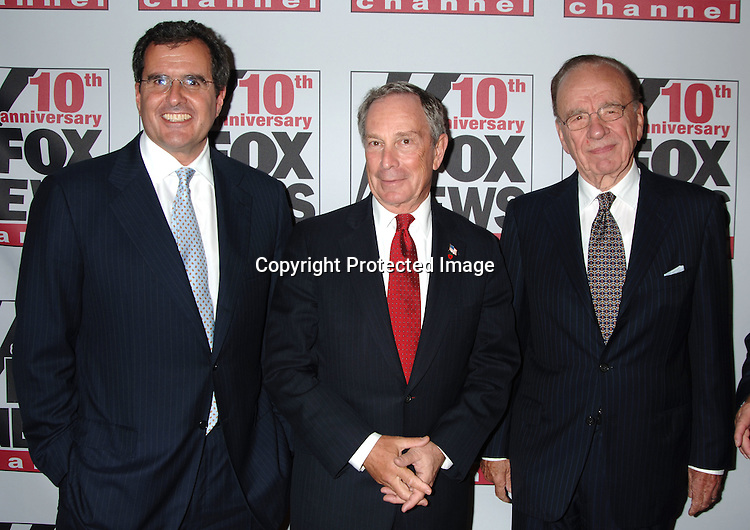 Peter Chernin, Mayor Michael Bloomberg and Rupert Murdoch..at The Fox News Channel's 10th Anniversary Party hosted ..by Roger Ailes and Rupert Murdoch on October 4, 2006..at 48th and 6th Avenue in New York City. ..Robin Platzer, Twin Images