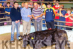This Belgian Blue Best Female born Nov 2015 & weighing 245kg sold for €830 at the Tralee Weanling Sale on Tuesday pictured l-r; Dan Carney(FBD Sponsor), Brian Walsh(Chairman), Sean Moriarty(Ballyferriter) & Brendan O'Connor(Buyer).