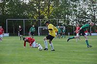 VOETBAL: JUBBEGA: Sportpark 't Heidefjild, 16-05-2012, Nacompetitie, Zondag 4e klasse B, SC Boornbergum'80 - Haulerwijk, Eindstand 2-1, Jorrit Hut (#8 | HW), Keeper Maarten Elverdink (#17 | BB), ©foto Martin de Jong