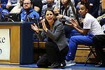 07 January 2016: Duke head coach Joanne P. McCallie (center) and Lexie Brown (right) clap for their team. The Duke University Blue Devils hosted the Wake Forest University Demon Deacons at Cameron Indoor Stadium in Durham, North Carolina in a 2015-16 NCAA Division I Women's Basketball game. Duke won the game 95-68.
