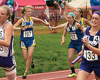 Oran's Ashhlyn McIntosh hand off the baton to Kaylen Glastetter 4x200 meter relay while. The Eagles finished 7th in 1:54.19.