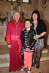 Clare Donnelly and Sponsor Frances Donnelly with Bishop Smith.Slane Confirmation..Picture: Fran Caffrey / www.newsfile.ie ..
