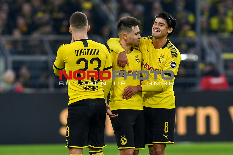 14.02.2020, Signal Iduna Park, Dortmund, GER, 1. BL, Borussia Dortmund vs Eintracht Frankfurt, DFL regulations prohibit any use of photographs as image sequences and/or quasi-video<br /> <br /> im Bild / picture shows / Thorgan Hazard (#23, Borussia Dortmund) Raphael Guerreiro (#13, Borussia Dortmund) Mahmoud Dahoud (#8, Borussia Dortmund) Schlussjubel / Schlußjubel / Emotion / Freude / <br /> <br /> Foto © nordphoto/Mauelshagen