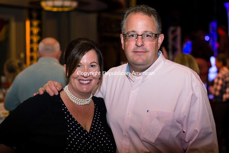 WATERBURY, CT- 17 May 2016-051716EC02-  Social Moments. Cyndi Zoldy, the Executive Director of the Smaller Manufacturers Association, and John Zoldy at The Palace Theater's Palace 10.1 event on May 13th. Erin Covey Republican-American