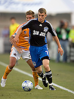 22 May 2008: Ronnie O' Brien of the Earthquakes dribbles the ball during the game against the Dynamo at Buck Shaw Stadium in San Jose, California.   San Jose Earthquakes defeated Houston Dynamo, 2-1.