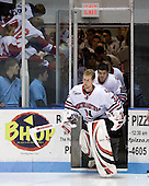 Chris Rawlings (NU - 37), Wade MacLeod (NU - 19) - The Northeastern University Huskies defeated the Bentley University Falcons 3-2 on Friday, October 16, 2009, at Matthews Arena in Boston, Massachusetts..