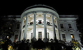 The South Portico of the White House is seen with its holiday decorations following the 2011 National Christmas Tree Lighting on the Ellipse in Washington, DC, on Thursday, December 1, 2011.    .Credit: Roger L. Wollenberg / Pool via CNP