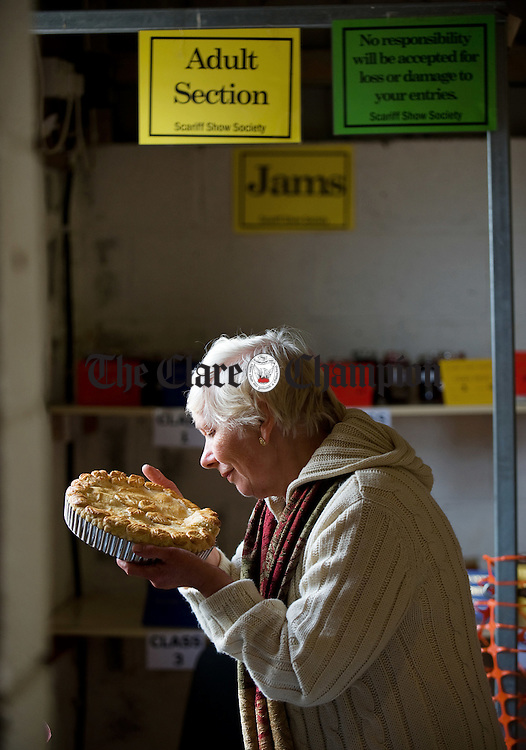 Janet Gibbons of Cappabane Scariff  checks out her award winning tart at Scariff Show. Photograph by John Kelly.