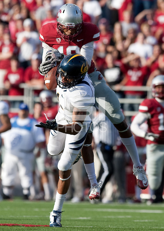 Marvin Jones pulls in the tough catch against Deone Bucannon. The University of California football defeated Washington State University 20-13 at Martin Stadium in Pullman, Washington on November 6th, 2010.