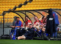 The Horowhenua Kapiti bench watches a replay during the Heartland Championship rugby match between Horowhenua Kapiti and Wairarapa Bush at Westpac Stadium in Wellington, New Zealand on Sunday, 1 October 2017. Photo: Dave Lintott / lintottphoto.co.nz