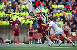 STONY BROOK, NY - MAY 27: Taylor Walker #25 of the Boston College Eagles is defended by Elena Romesburg #28 of the James Madison Dukes during the Division I Women's Lacrosse Championship held at Kenneth P. LaValle Stadium on May 27, 2018 in Stony Brook, New York. (Photo by Ben Solomon/NCAA Photos via Getty Images)
