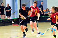 Action from the 2019 Senior Co-Ed final between Heretaunga College and Pukekohe High School.  2019 NZ Secondary School Floorball Championships at ASB Sports Centre in Wellington, New Zealand on Sunday, 31 March 2019. Photo: Dave Lintott / lintottphoto.co.nz