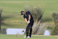 David Dixon (ENG) plays his 2nd shot on the 14th hole during Thursday's Round 1 of the 2016 Portugal Masters held at the Oceanico Victoria Golf Course, Vilamoura, Algarve, Portugal. 19th October 2016.<br /> Picture: Eoin Clarke | Golffile<br /> <br /> <br /> All photos usage must carry mandatory copyright credit (&copy; Golffile | Eoin Clarke)
