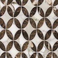 Audrey, a stone water jet mosaic, shown in Calacatta Tia and Emperador Dark, is part of the Ann Sacks Beau Monde collection sold exclusively at www.annsacks.com
