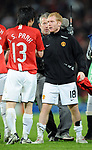 Manchester United's Paul Scholes celebrates with Manchester United's Park Ji-sung during the Champions League semi-final 2nd leg match at Old Trafford, Manchester. Picture date 29th April 2008. Picture credit should read: Simon Bellis/Sportimage