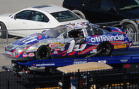 Apr 25, 2009; Talladega, AL, USA; The car driven by NASCAR Nationwide Series driver Matt Kenseth is towed to the garage after flipping over during the Aarons 312 at the Talladega Superspeedway. Mandatory Credit: Mark J. Rebilas-