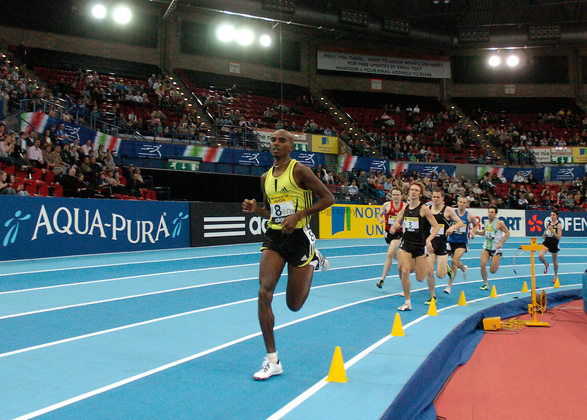 Photo: Richard Lane..Norwich Union Indoor Grand Prix, Birmingham. 17/02/2007. .Mo Farah leads the Devil's one mile.