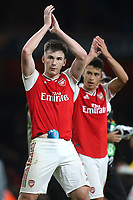 Kieran Tierney of Arsenal applauds the home fans at the final whistle during Arsenal vs Standard Liege, UEFA Europa League Football at the Emirates Stadium on 3rd October 2019