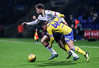 Bolton Wanderers' Yanic Wildschut competing with Leeds United's Jack Clarke<br /> <br /> Photographer Andrew Kearns/CameraSport<br /> <br /> The EFL Sky Bet Championship - Bolton Wanderers v Leeds United - Saturday 15th December 2018 - University of Bolton Stadium - Bolton<br /> <br /> World Copyright &copy; 2018 CameraSport. All rights reserved. 43 Linden Ave. Countesthorpe. Leicester. England. LE8 5PG - Tel: +44 (0) 116 277 4147 - admin@camerasport.com - www.camerasport.com