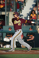 Carter Aldrete (21) of the Arizona State Sun Devils bats against the Southern California Trojans at Dedeaux Field on March 24, 2017 in Los Angeles, California. Southern California defeated Arizona State, 5-4. (Larry Goren/Four Seam Images)