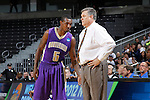 24 MAR 2012:  D.J. Rivera (5) of the University of Montevallo talks with head coach Danny Young during the game against the Western Washington University during the Division II Men's Basketball Championship held at the Bank of Kentucky Center in Highland Heights, KY. Western Washington won the national title 72-65.  Joe Robbins/NCAA Photos