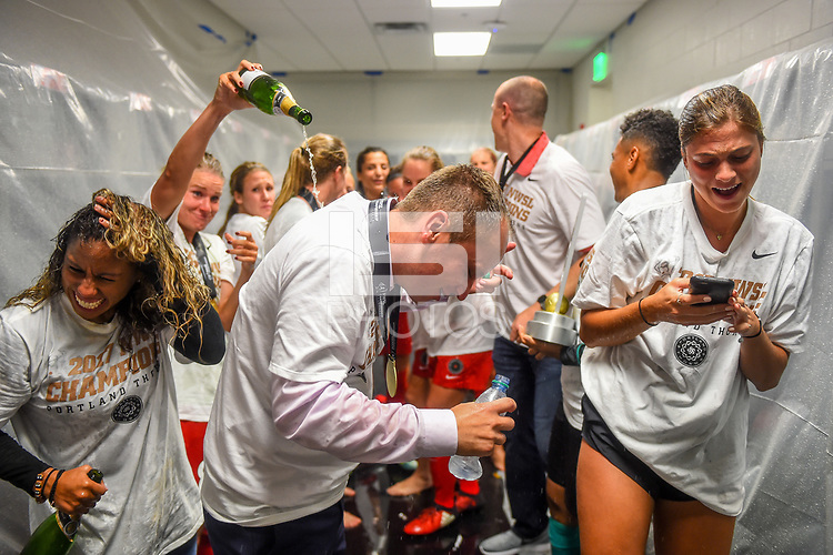 Orlando, FL - Saturday October 14, 2017:  Mark Parsons, Portland Thorns FC celebrate their National Women's Soccer League (NWSL) Championship win by defeating North Carolina Courage 1-0 during the NWSL Championship match between the North Carolina Courage and the Portland Thorns FC at Orlando City Stadium.
