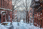 Fresh snowfall on Beacon Hill, Boston, Massachusetts, USA