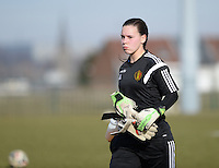 20150307 - TUBIZE , BELGIUM : Belgian Ines Fernandez Gonzales pictured during the friendly female soccer match between Women under 19 teams of  Belgium and Czech Republic . Saturday 7th March 2015 . PHOTO DAVID CATRY