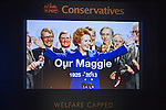 © Joel Goodman - 07973 332324 . No syndication permitted . 29/09/2013 . Manchester , UK . Tribute to Margaret Thatcher is played on the video screens . Day 1 of the Conservative Party Conference at Manchester Central . Photo credit : Joel Goodman