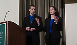 Claire Kirwen (right), and Brian Baker (left), present their case at the 3rd Annual Robert L. Foehl Ethical Leadership Case Competiton.