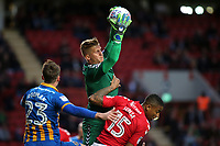 Charlton goalkeeper, Ben Amos, makes a fine save during Charlton Athletic vs Shrewsbury Town, Sky Bet EFL League 1 Play-Off Football at The Valley on 10th May 2018