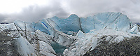 Water and ice glow blue and green at the Matanuska Glacier, about 100 miles from Anchorage, Alaska.