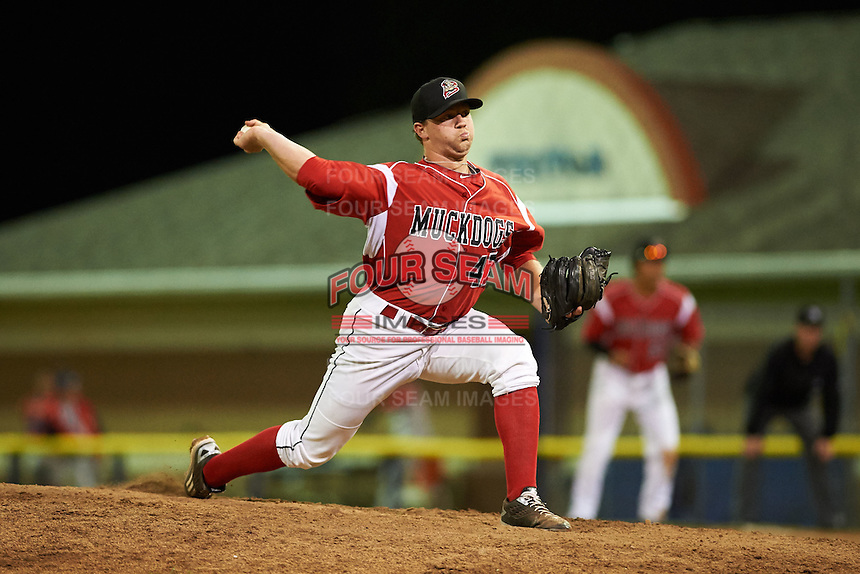 Batavia Muckdogs pitcher Jordan Hillyer (47) delivers a pitch during a game against the Williamsport Crosscutters on July 15, 2015 at Dwyer Stadium in Batavia, New York.  Williamsport defeated Batavia 6-5.  (Mike Janes/Four Seam Images)