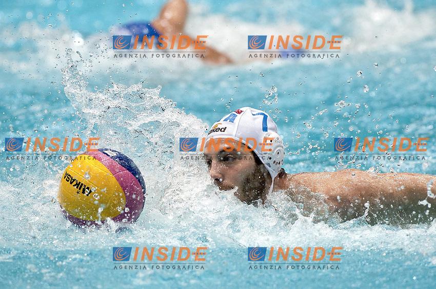 Eindhoven , Netherlands (NED) 23/1/2012.LEN European  Water Polo Championships 2012.Day 08 - Men.ITA (White) - GRE (Blue).7 FIGARI Niccolo.Photo Insidefoto / Giorgio Scala