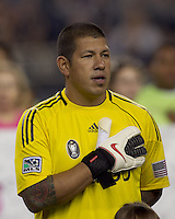 Real Salt Lake goalkeeper Nick Rimando (18). Real Salt Lake defeated the New England Revolution, 2-1, at Gillette Stadium on October 2, 2010.