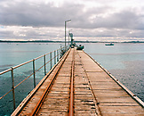 AUSTRALIA, kangaroo Island, Vivonne bay, wooden bridge over sea